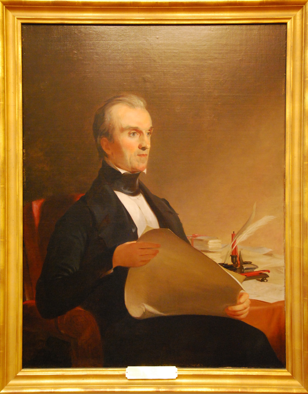 Portrait of James K. Polk sitting in a chair looking to the right.